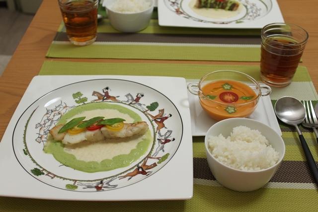 ■お魚と2色のネギソースで晩ごはん。