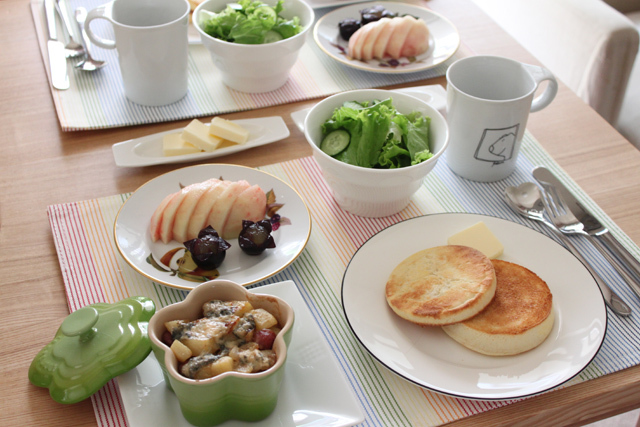 ■朝ごはん。~ビーフソーセージとジャガイモのオーブン焼き、ゴルゴンゾーラ風味~