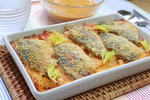 ■あじとトマトとじゃがいものオーブン焼き