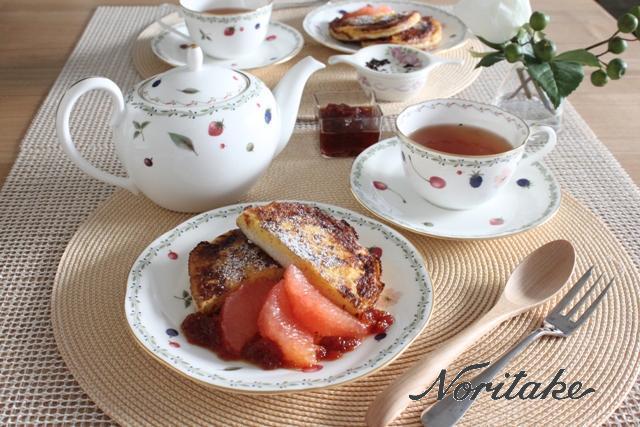 ■イングリッシュマフィンのフレンチトースト、グレープフルーツのコンフィチュール ~Day 7~