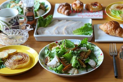いただきもので朝ごはん ~筍のサラダと玉ねぎステーキ~