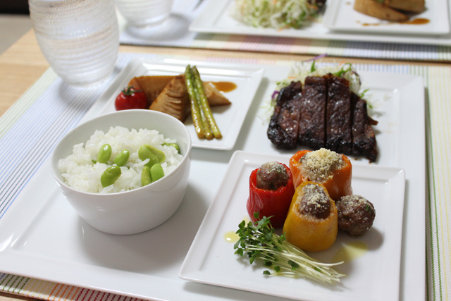 ■ピーマン肉詰めワンプレート晩ごはん。