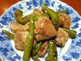 鶏肉と甘長唐辛子炒め