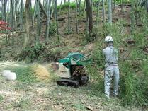 間伐竹チッパー機処理