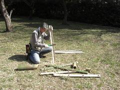 080309第9回竹林管理コース 筍の保護竹札作り1