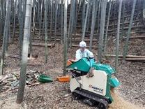 竹灯籠処理チップ化