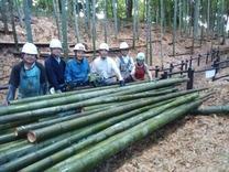 190908間伐竹と集合写真