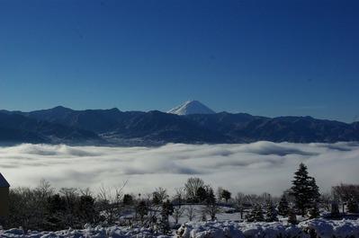 青空富士山雲海雪景色