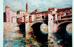 私が描いた油絵 「アルノに映る橋」 1