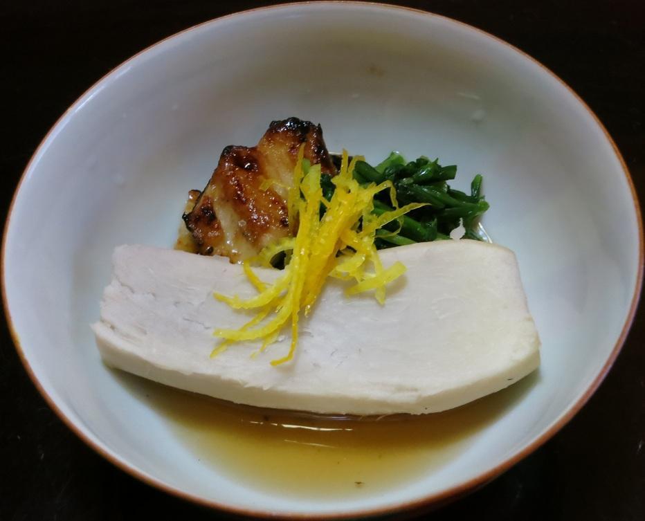 海老芋と焼穴子の炊き合せ