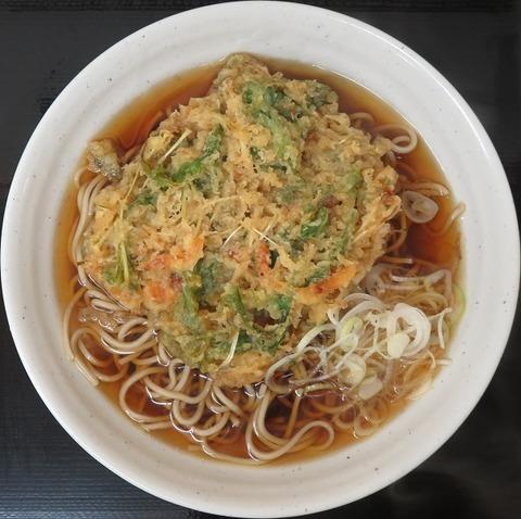 桜海老と水菜のかき揚げ天そば(梅もと)440