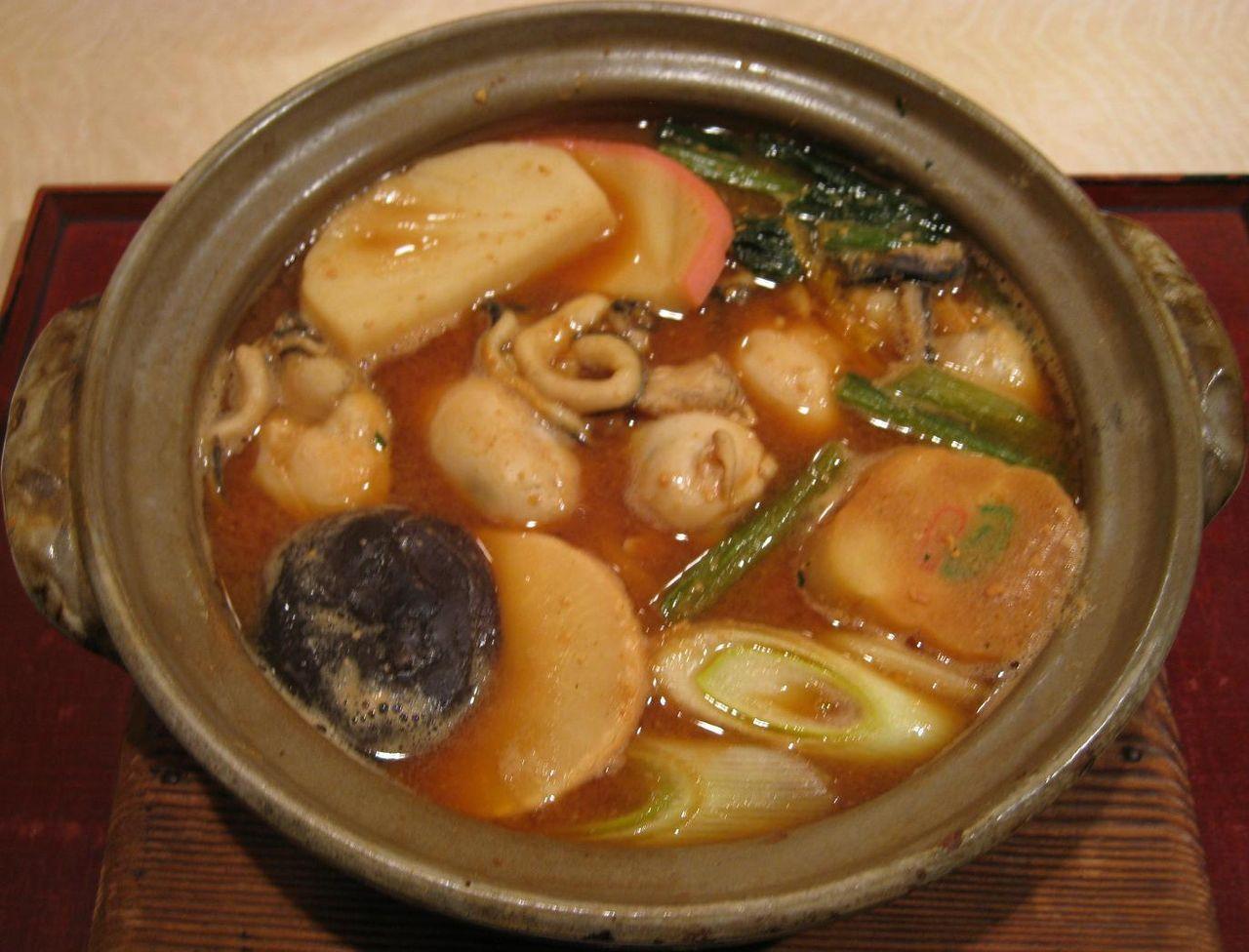 かき鍋うどん(味噌)