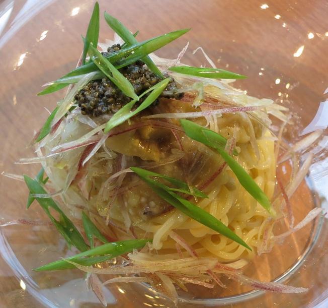 焼き茄子と茗荷の冷製スパゲッティーニ