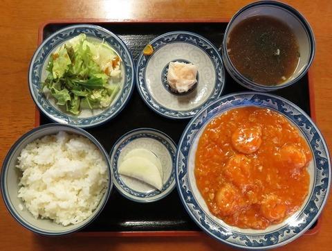海老辛子炒め定食(天弘)1000