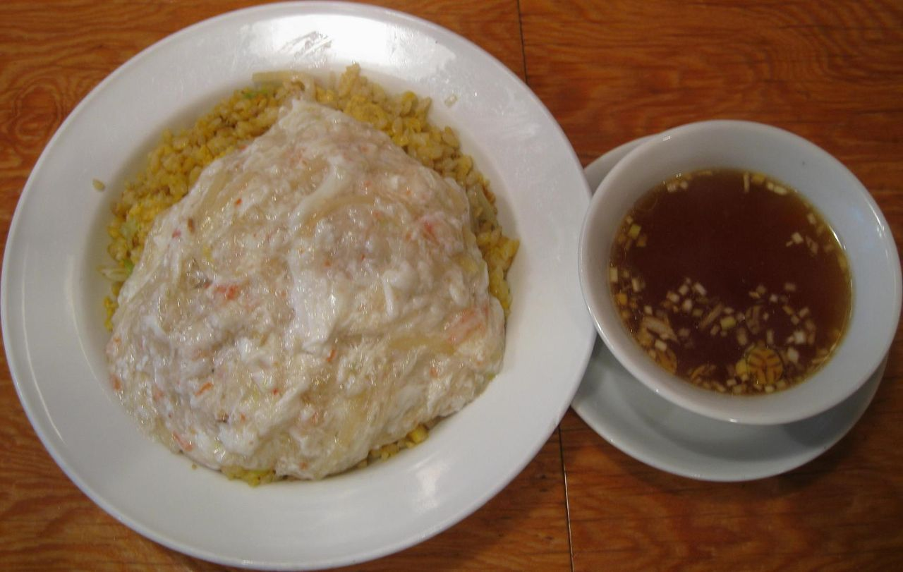 蟹肉フカヒレあんかけ炒飯