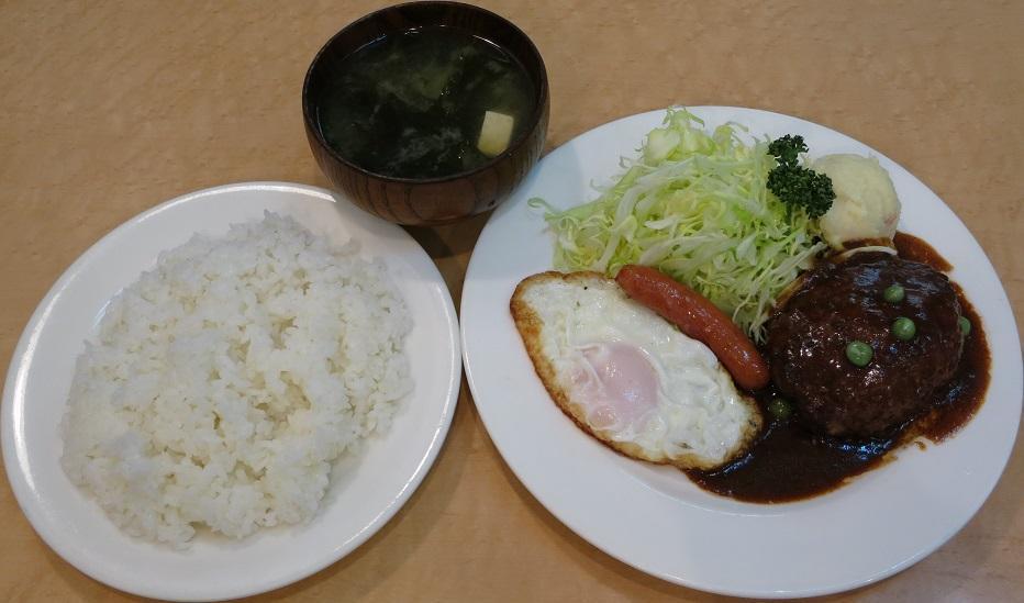 ハンバーグ+味噌汁