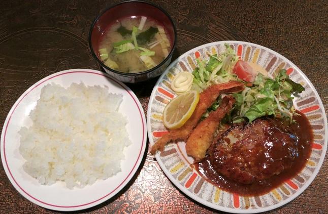 ハンバーグ・エビフライ+ライス+味噌汁
