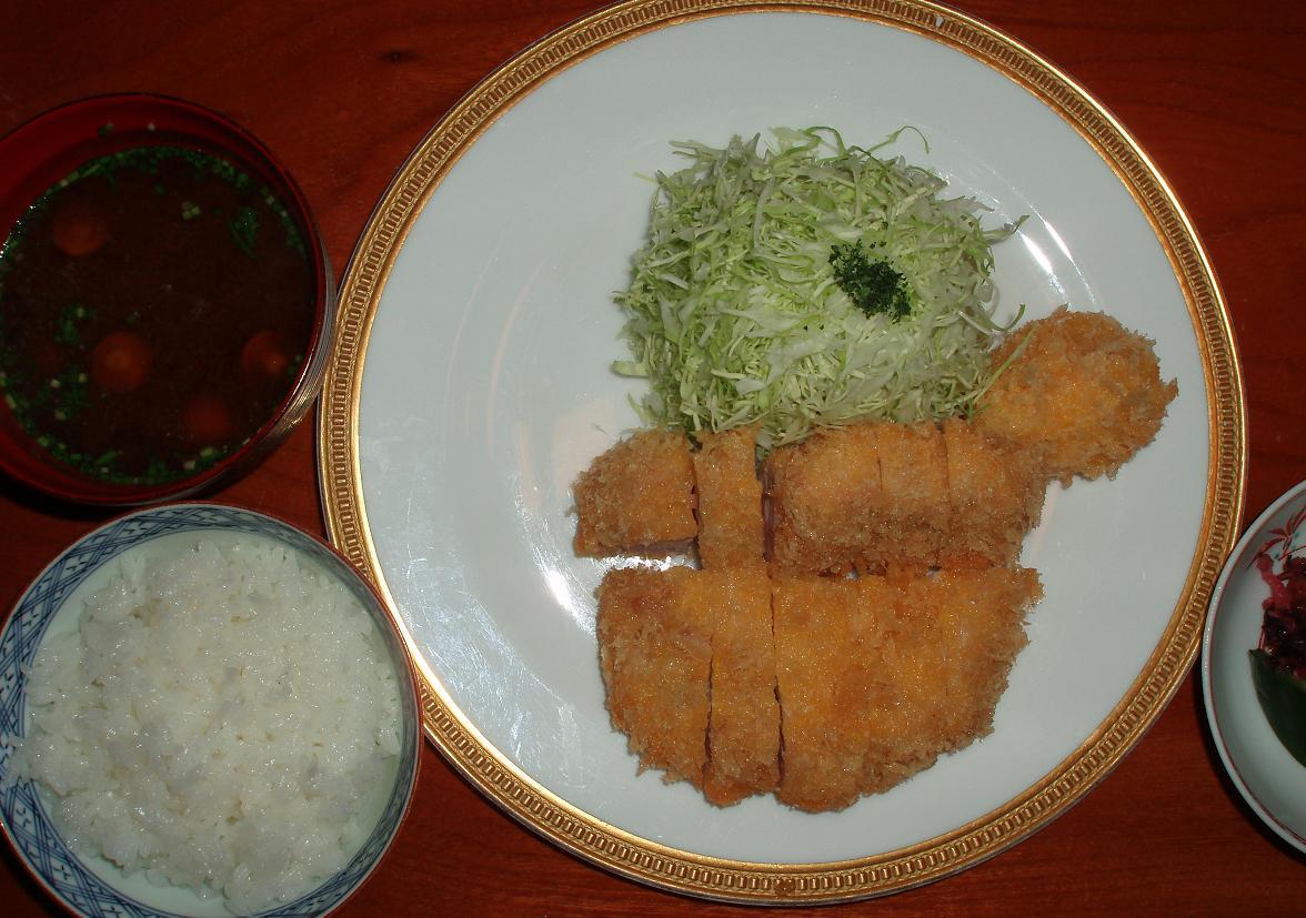 カツレツ+御飯・味噌汁・御新香