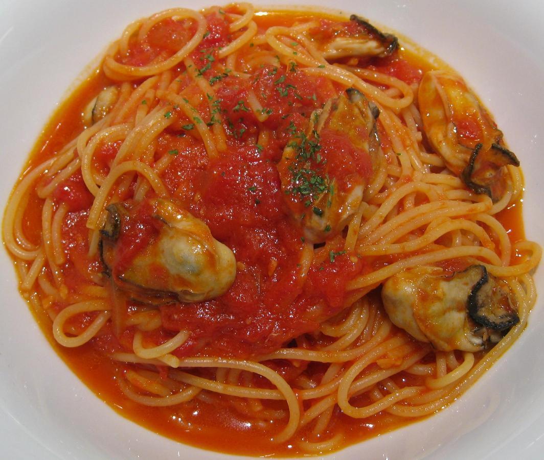 カキのピリ辛トマトソーススパゲティー