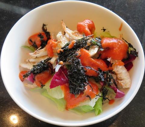 能登岩海苔と富山白海老の野菜サラダ(銀杏)