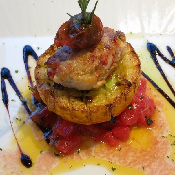 カジキマグロのインポルティーニと丸ズッキーニのステーキ
