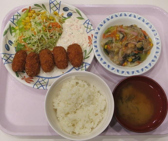 蠣フライ+餡かけ焼売