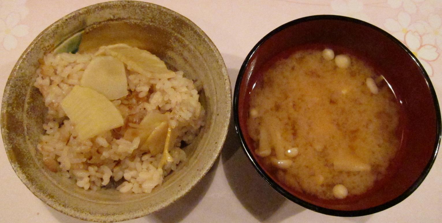 筍御飯・味噌汁