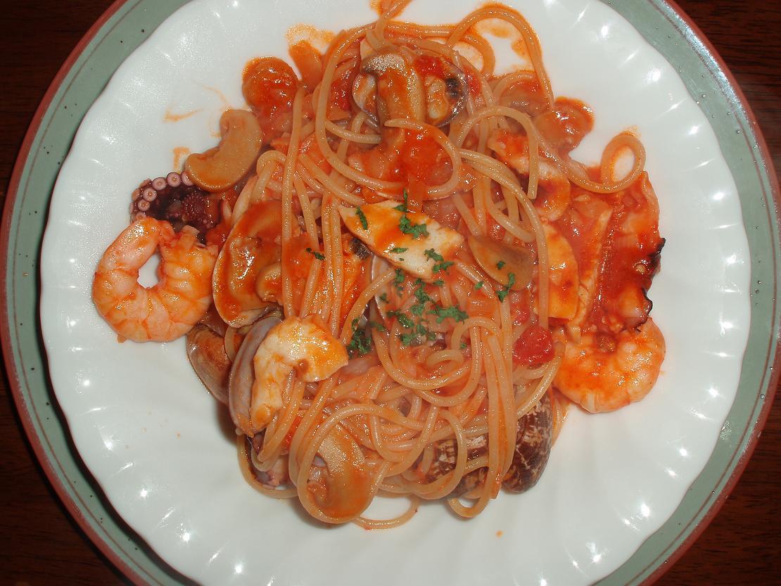 海の幸のスパゲティ