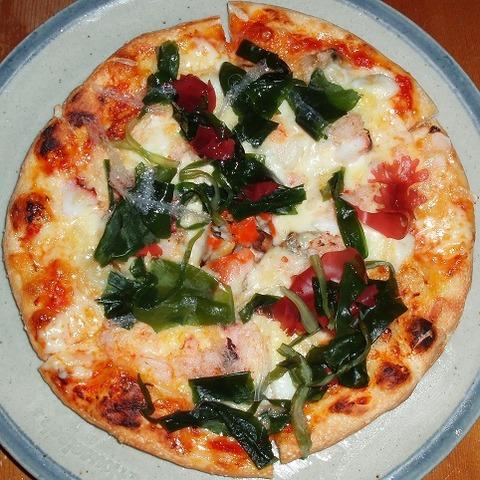 漁師風魚介類のピザ(ハウスリーク)