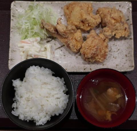 ムネ唐揚定食4個入り(鶏笑)610