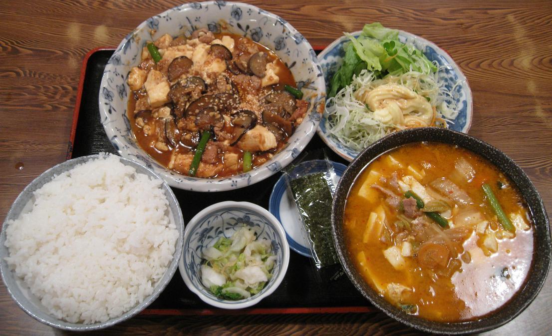 なす肉豆腐亭定食+キムチ汁