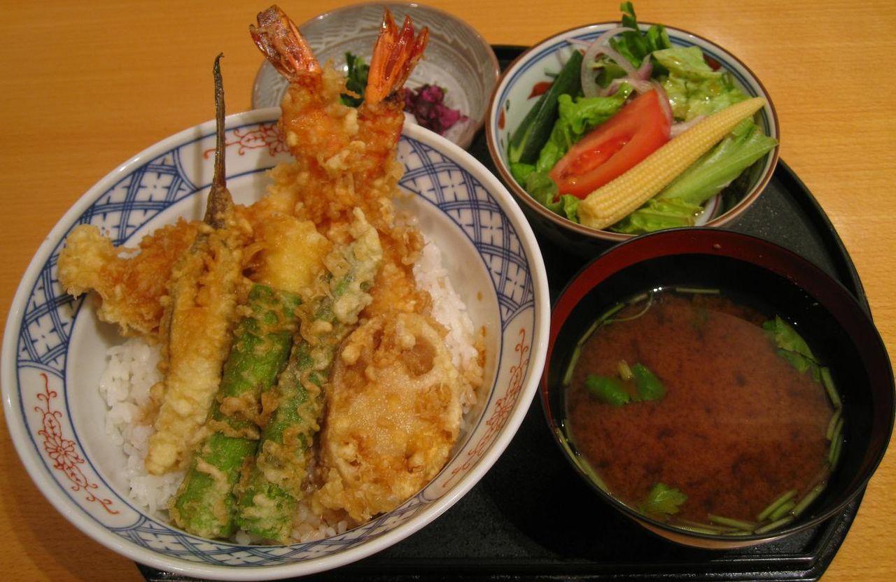 大海老とアスパラ天丼