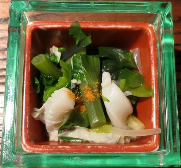 アスパラ菜と烏賊の湯葉和え