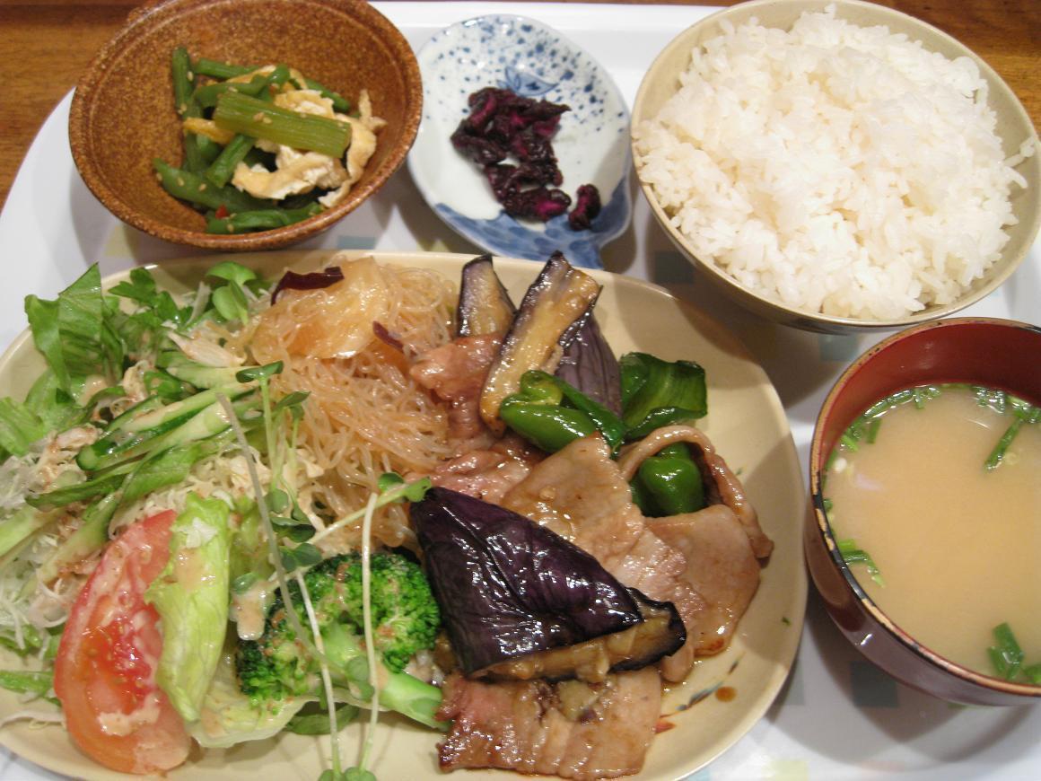 豚茄子炒め定食