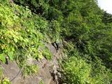 岩場のトラバース