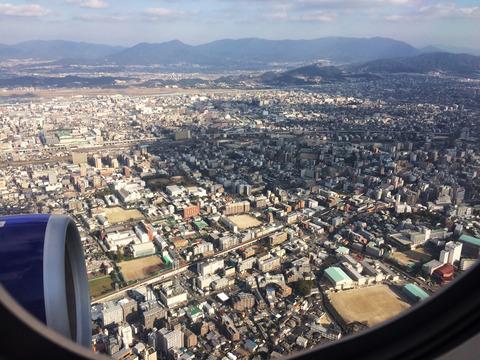 飛行機から博多