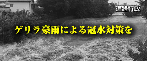 ゲリラ豪雨による冠水対策を