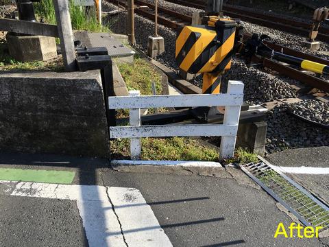 秋津踏切の柵補修