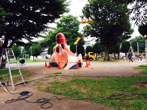 映画撮影中のタコ公園