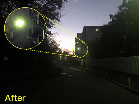 水銀灯の街灯、修理して頂きました。