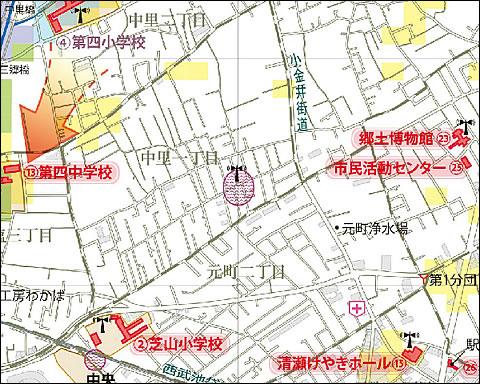 中里1〜2丁目冠水地図