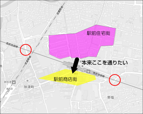 秋津駅前図
