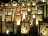 嵐山駅前にて 子供達の行灯