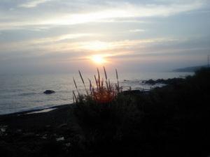 奈半利へ 夕日を眺めて