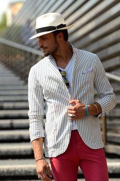 シアサッカージャケット パナマ帽