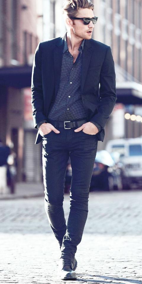 紺シャツ ネイビースーツ