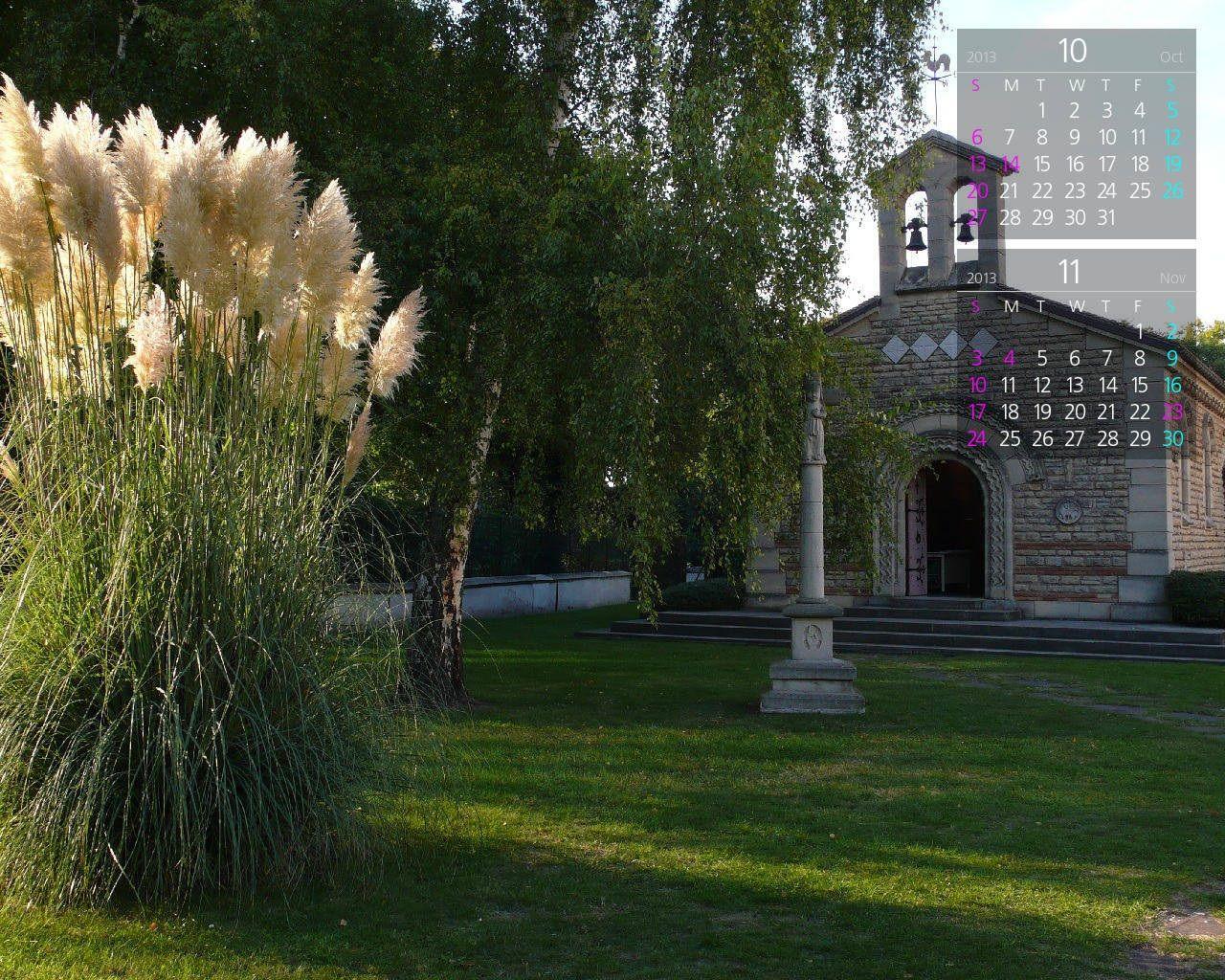 壁紙カレンダー平成25年10月 ランスのフジタ礼拝堂 フランス壁紙写真館