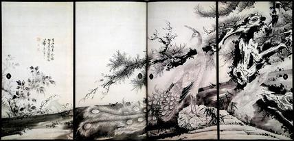 松に孔雀図襖