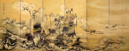 月夜山水図屏風(左隻)