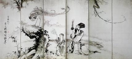 塞翁飼馬・蕭史吹笙図屏風(左隻)